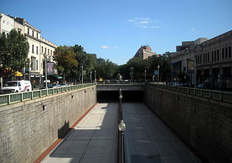 Connecticut Avenue - The Connecticut Avenue tunnel runs underneath Dupont Circle.