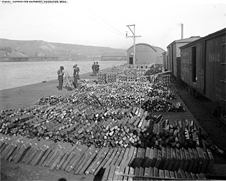 Houghton, Michigan - Copper ready for shipment, c. 1906