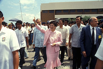 Edgardo Angara - Then-University of the Philippines President Edgardo Angara with President Corazon Aquino and Agriculture Minister Ramon Mitra Jr. visit the International Rice Research Institute in 1986