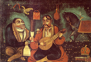 Cossack Mamay - Cossack Mamay being tempted to drink by Satan. Ukrainian folk art, first half of the 19th century