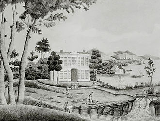 Rebecca Couch - Connecticut House, ca. 1800. Watercolor and ink on wove paper, 13 x 16 in., Abby Aldrich Rockefeller Folk Art Center, Williamsburg
