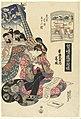Courtisane Katsuragi uit het Sugata Ebiya huis, vergeleken met het station Chirifu. Sugata Ebiya uchi Katsuragi, Chirifu (titel op object) Reisspelletjes met courtisanes de 53 stations van de Tokaido vergeleken met het, RP-P-2008-181.jpg