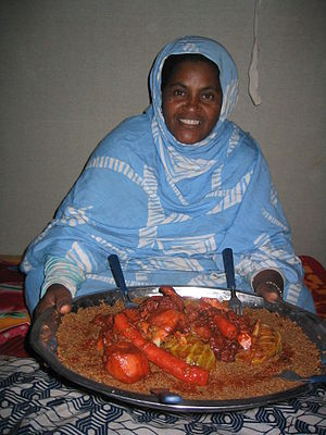 Mauritanian cuisine - Camel couscous, made under the tent in the dunes of Ajouer (Mauritania)