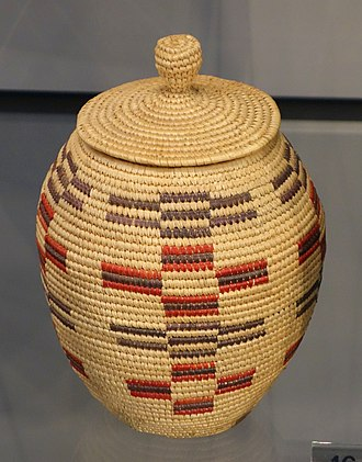 Covered Inuit basket, Alaska, undated Covered Basket, Eskimo, Alaska, undated, coiled dyed and undyed rye grass - Chazen Museum of Art - DSC01872.JPG