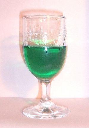 A small glass of Crème de menthe