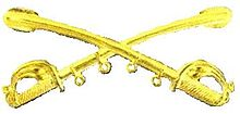 A computer generated reproduction of the insignia of the Union Army cavalry branch. The insignia is displayed in gold and consists of two sheathed swords crossing over each other at a 45 degree angle pointing upwards