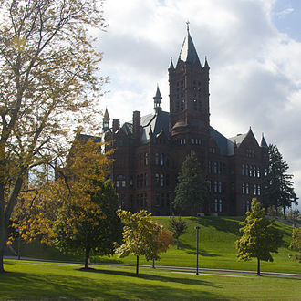 Syracuse University - Crouse College, a Romanesque building completed in 1889, housed the first College of Fine Arts in the United States. It is now the home of the university's College of Visual and Performing Arts and the Setnor School of Music.