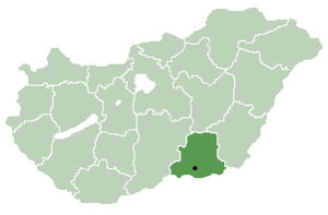 Csengele - Location of Csongrád County in Hungary