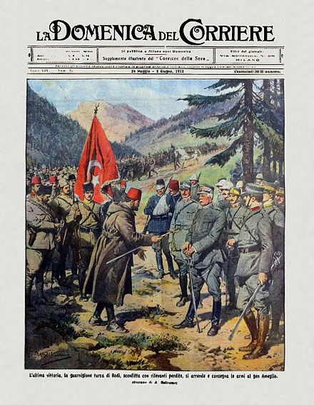 16 May 1912: surrender of the Turkish garrison in Rhodes to the Italian general Ameglio near Psithos. (From Italian weekly La Domenica del Corriere, 26 May - 2 June 1912). DC-1912-21-d-ResaDeiTurchiARodi.jpg