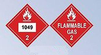 Compressed hydrogen - Image: DOT Hazardous Material Placard compressed hydrogen
