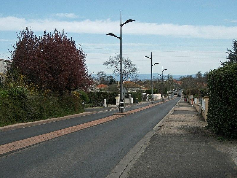 Blanzat St (departmental road 2B) in Cébazat, Puy-de-Dôme, Auvergne, France.