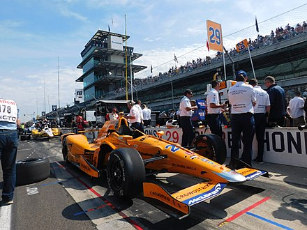 Indianapolis is home to the annual Indianapolis 500 race. Dallara DW12 (Fernando Alonso) 2017 Indianapolis 500.jpg
