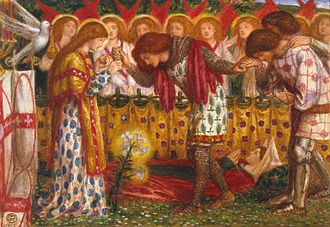 Percival's sister - How Sir Galahad, Sir Bors and Sir Percival were Fed with the Sanc Grael; But Sir Percival's Sister Died by the Way by Dante Gabriel Rossetti (1864)