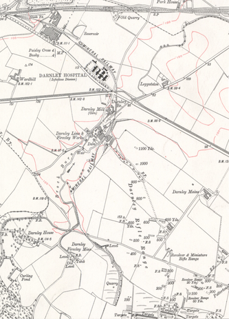 Darnley Lime Works on 1915 edition Ordnance Survey map, Renfrewshire Sheet XII.SE (incl. Eastwood; Neilston; Paisley). Publication date 1915.png