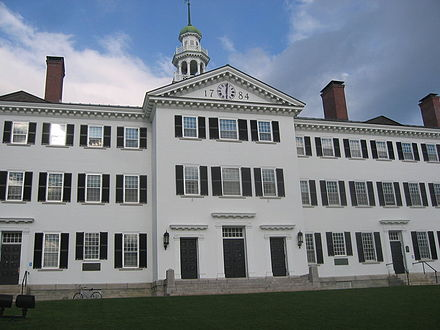 New England is home to four of the eight Ivy League universities. Pictured here is Dartmouth Hall on the campus of Dartmouth College. Dartmouth-hall.jpg
