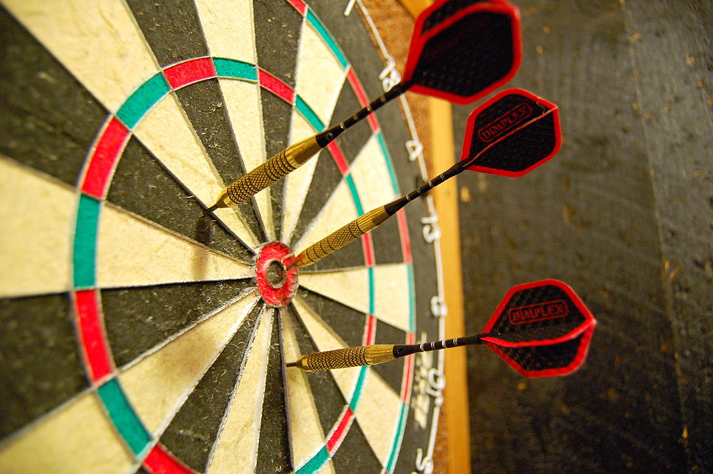 Your target isn't the dartboard, but rather the bulls-eye. Though you may score in nearby regions, still aim for your target.