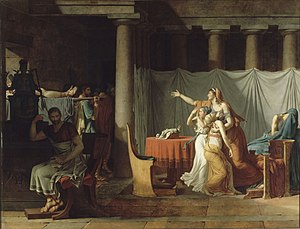 Lucius Junius Brutus - The Lictors Bring to Brutus the Bodies of His Sons by David, 1789
