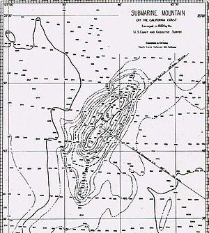 Davidson Seamount - 1933 map of Davidson Seamount
