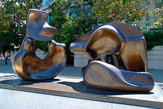 Louise M. Davies Symphony Hall - Large Four Piece Reclining Figure 1972–73 by Henry Moore, 1973. Bronze, apx. 13 feet
