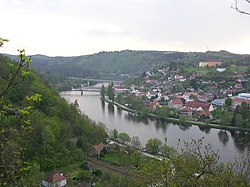 A northeast view of Dalve across the Vltava River.