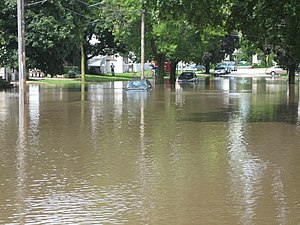 2007 Midwest flooding - The South Branch Kishwaukee River crested above 15 feet on August 24 submerging parts of DeKalb, Illinois.