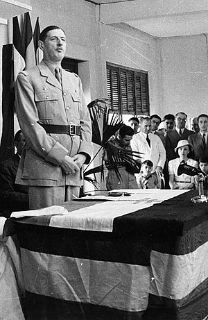 Françafrique - Charles de Gaulle at the inauguration of the Brazzaville Conference, 1944