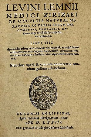 Levinus Lemnius - Title page of the 1573 edition of De occultis naturae miraculis (Cologne).