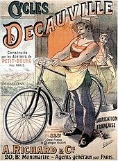 Affiche signée Alfred Choubrac, faisant la réclame des cycles Decauville (vers 1892).