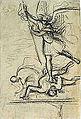 Dehodencq A. - Pencil - Esquisse de St Michel terrassant le dragon (d'après Raphaël) - 10x16cm.jpg