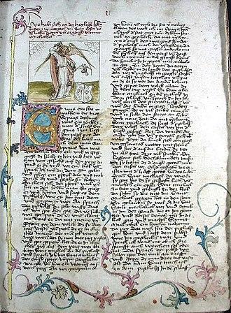 Weihenstephan Abbey - Der Heiligen Leben Winterteil - Seite aus einer Handschrift aus dem Benediktinerstift Weihenstephan