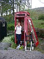 Derelict phone box by Rogart Station - geograph.org.uk - 839172.jpg