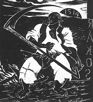 Gyula Derkovits - Insurgent Peasant, from the Dózsa woodcut series (1928)