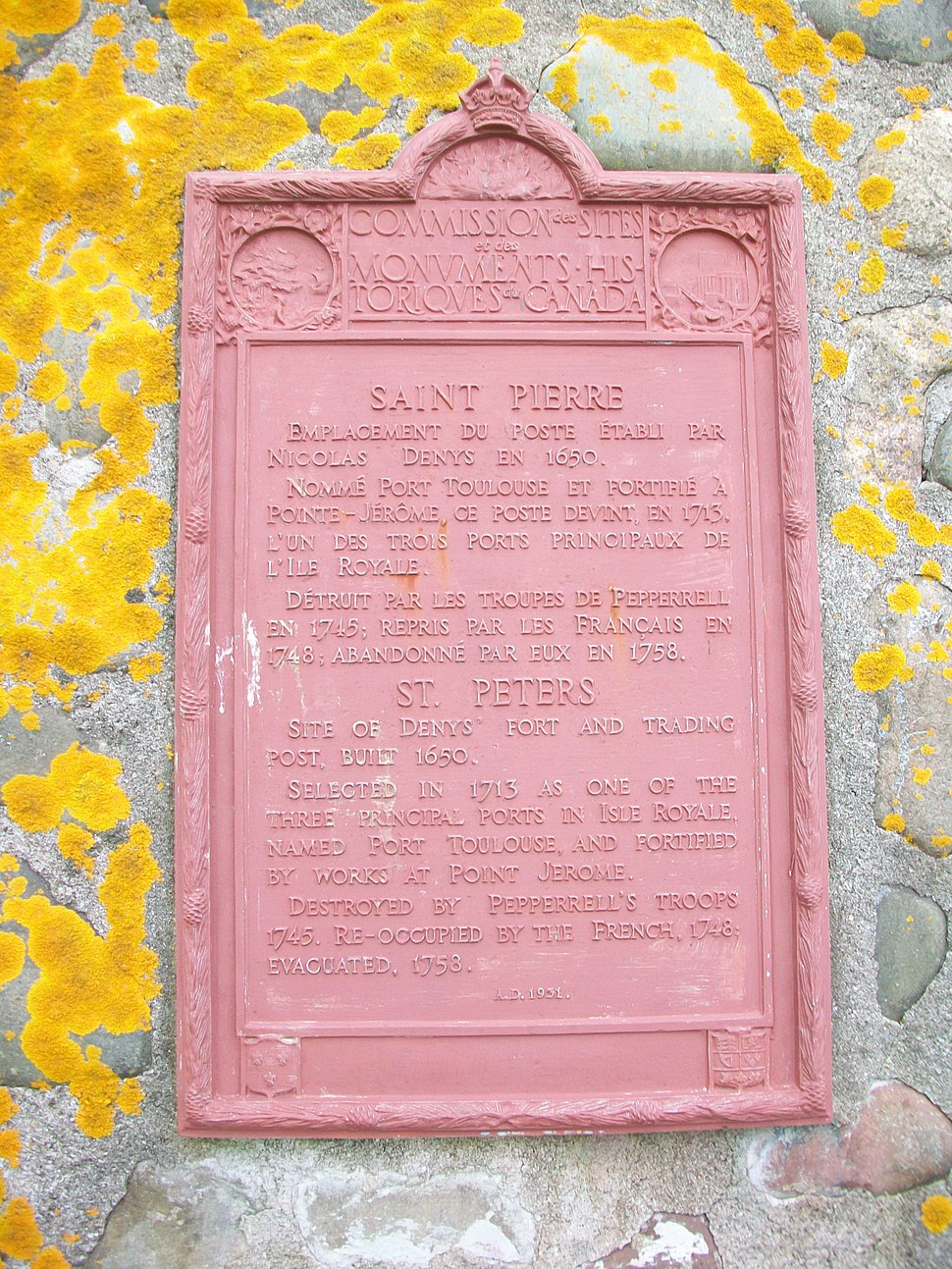 Detail of plaque on Saint-Pierre monument, St. Peter%27s, NS