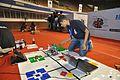Deva Prasanna Preparing His Robot - Indian National Championship - WRO - Kolkata 2016-10-22 8305.JPG