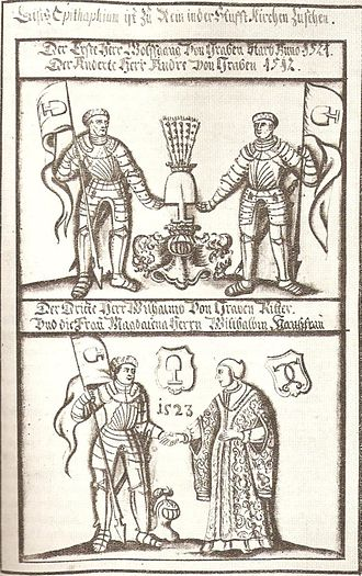 Wolfgang von Graben - The brothers Wolfgang, Andree and Wilhelm von Graben with his wife Magdalena von Stubenberg