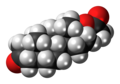 Dihydrotestosterone acetate molecule spacefill.png