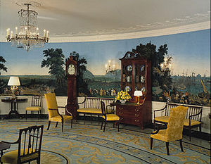 Diplomatic Reception Room (White House) - West side of the Diplomatic Reception Room showing the panoramic Zuber et Cie wallpaper Scenes of North America.
