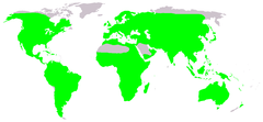 Native distribution of frogs (in green)