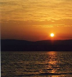 The sun sets over Deer Lake, Newfoundland, June 2003.