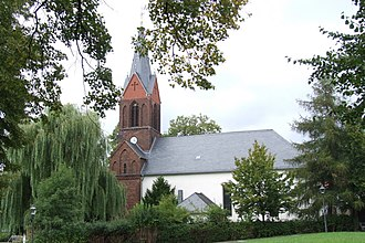 Jesus Church (Berlin-Kaulsdorf) - Seen from south – with the spire reconstructed in 1999 after war destruction in 1945