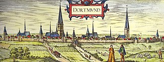 Dortmund - Historical view of the German town of Dortmund by Georg Braun and Franz Hogenberg (between 1572 and 1618)