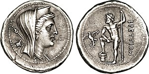 Greek mythology in popular culture - A coin, featuring the profile of Hera on one face, and Zeus on the other side, c. 210 AC