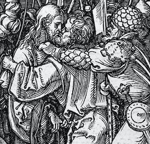 The Taking of Christ (Caravaggio) - Woodcut by Albrecht Dürer (detail)