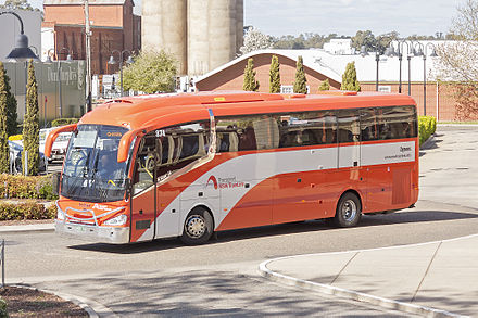 Dysons Irizar i6 bodied Scania K310IB at Wagga Wagga station in September 2015 Dysons (BS01 CU), in NSW TrainLink livery, Irizar i6 bodied Scania K310IB at Wagga Wagga Railway Station.jpg