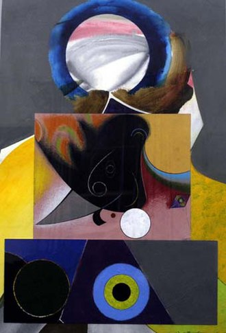 African-American art - Midnight Golfer by Eugene J. Martin, mixed media collage on rag paper.