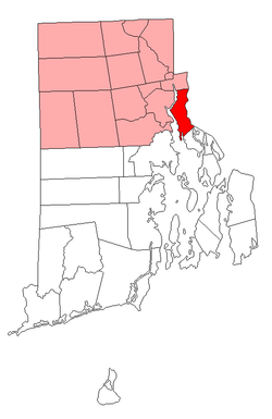 Location of East Providence in Providence County, Rhode Island
