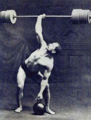 Strength training - Arthur Saxon performing a Two Hands Anyhow with an early kettlebell and plate-loaded barbell.