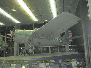 "O'Hare International Airport - Grumman F4F-3 Wildcat on display in O'Hare's Terminal 2, restored in the markings of ""Butch"" O'Hare's plane"