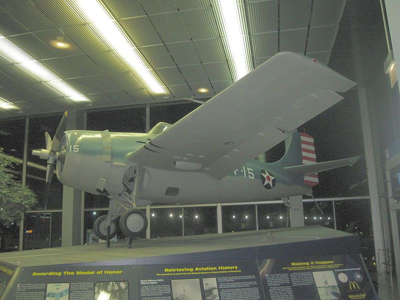 File:Edward Butch O'Hare's Aircraft on display at ORD.jpg
