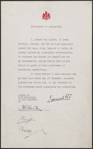 Ireland–United Kingdom relations - The Instrument of Abdication signed by Edward VIII and his three brothers